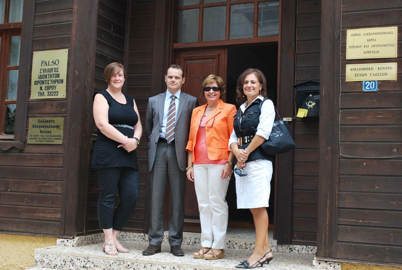 O νέος Γενικός Πρόξενος της Γαλλίας στη Θεσσαλονίκη, κος Christophe Le Rigoleur, με τις κυρίες  Δ. Μπαδιά, Αικ. Μαυρομαρά-Λαζαρίδου και Μ. Δουλάμη απο το ΔΣ του Συλλόγου